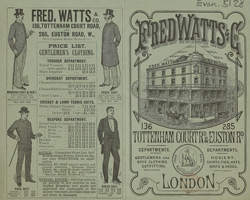 Advert for Fred Watts & Co, gentlemen's outfitters